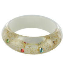 """Clear White Lucite Plastic Chunky Bangle Bracelet 2 5/8"""" Diameter"""