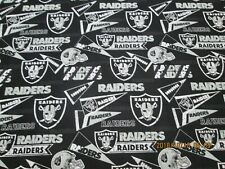 OAKLAND RAIDERS  NFL BRAND NEW DESIGN 100% COTTON 1/2 YD PIECE BRAND NEW BLACK