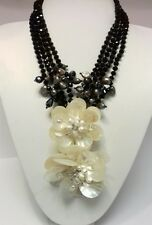 NEW Mother of Pearl Shell Freshwater Pearls Crystal Flower Necklace 45cm