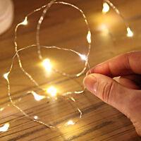 1M 10er LEDs Lichterkette Draht Micro warmweiß, Batteriebetrieb Neu