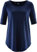 Bequemes Halbarm-Longshirt mit abgerundetem Saumabschluss  Gr.36/38