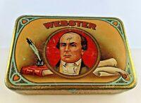 Antique Webster  CIGAR CO.  METAL CIGAR BOX VTG TOBACCO TIN