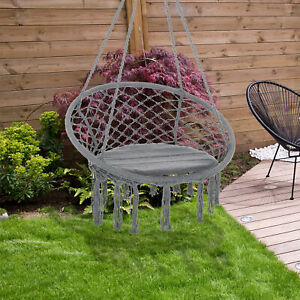 Outsunny Macrame Hanging Chair Swing Hammock for Indoor & Outdoor Use