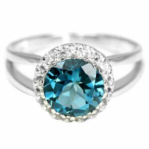 BEAUTIFUL BLUE TOPAZ STERLING RING N