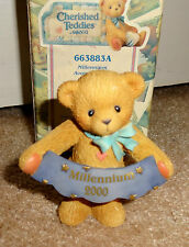 "Cherished Teddies 1999 Avon Exclusive Millennium 2000 Sign 3"" Bear #663883A Nib"