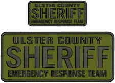 ULSTER COUNTY SHERIFF E R T EMBROIDERY PATCH 4X10 AND 2X5 HOOK ON BACK BLK/GRA