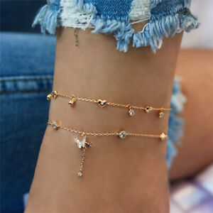 Women Ankle Bracelet Gold Anklet Foot Jewelry Girl's Beach Chain Diamond 2 Row