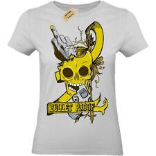 Bullet proof skull revolver pistol gun T-Shirt Womens Ladies top