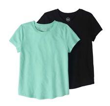 Girls Black & Aqua Color Crew Neck T-Shirts 2 Pack Set M(7-8)