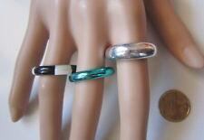Lote 3 anillos acrílico blan-negro metal nº 10 ó 19 mm diámetro bisutería 46