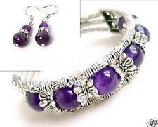Ladies Jewelry Tibet Silver Amethyst Bracelet Woman Earrings Set