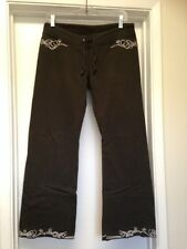 LUCKY BRAND DARK GREEN SWEATPANTS 100% COTTON PANTS EMBROIDERED TRIM Sz Small
