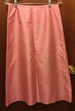 Women ANN TAYLOR Petite Pink 100% Silk A Line Midi Skirt Sz 10p EUC Lined