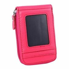 Wallet Genuine Leather Credit Card Holder RFID Blocking Zipper Pocket PINK