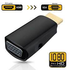 HDMI Male to VGA Female Video Adapter Cable Converter With 3.5mm Audio Out 1080P