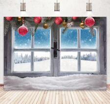 Winter Christmas Snowflakes Backdrop White Window Xmas Tree Photography Backdrop