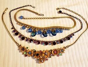 3 Vintage Costume Jewelry Rhinestone Choker Necklaces - WEISS, CORO