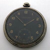 For Part Lange & Sohne Glashutte Silver Black Dial Pocket Watch Vintage Repair