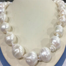"Huge 15x20MM WHITE BAROQUE PEARL NECKLACE 18"" Party Chic Women Charm Mesmerizing"