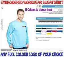 Heavyweight Personalised Work wear Sweatshirt. ANY EMBROIDERED COLOUR LOGO FREE!