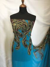 "NEW Designer Multicolour Chiffon Double Paisley Border Print Fabric 59""151 Dress"