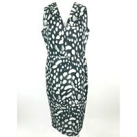 Max Mara Womens Black Tan Dot Print V Neck Sleeveless Sheath Dress Size 12 Italy