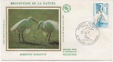 FRANCE 1975.F.D.C. SOIE. AIGRETTE GARZETTE.OBLIT:LE 15/2/75 VILLARS LES DOMBES