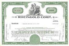 New listing Rheingold Corp.1965 Common Stock Certificate
