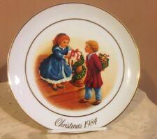 """Avon 4th Ed 1984 Christmas Memories Plate """"Celebrating The Joy Of Giving� 22K"""