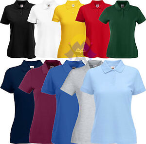 Polo da Donna/Woman FRUIT OF THE LOOM a Manica Corta LADY-FIT 10 Colori T-SHIRT