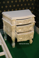 1 x Antique Cream Mahogany French style Rococo Bedside cabinet Nightstand