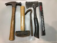Lot of 4 Carpenter Tools;  22 oz, Hammer, 3 lb. Sledge, Hatchet and Cats Paw