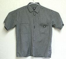 Dickies Mens Black Short Sleeve Button Down Plaid Checked Shirt Large EUC