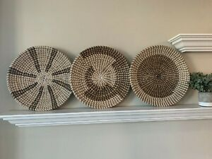 """MARLIC Set of 3 Woven Basket Wall Decor 14""""- Deocrative Round Seagrass Tray"""