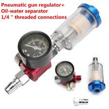 Spray Paint Gun Air Regulator Gauge & In-line Air Oil Water Separator Filter Kit