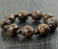 20MM Man's Nice Natural Blackwood Beads Wood Bracelet with Bats Carve Pattern