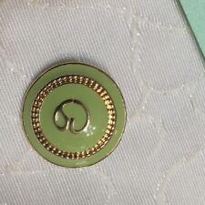 "#112 St. John Gold & Light Green Enamel SJ Logo Replacement Button 3/4"""