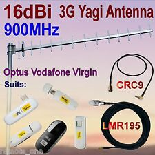 16dBi 900MHz 3G GSM Yagi Antenna OPTUS VIRGIN VODAFONE+CRC9 Patch Cable+10m COAX