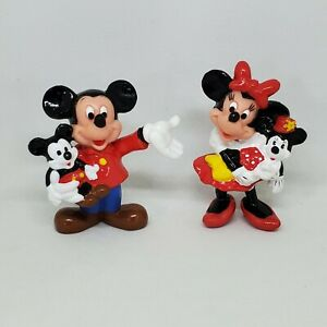 Vtg Mickey & Minnie Mouse Holding Dolls PVC Figure Disney Applause Cake Topper