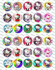 "30 Precut 1"" Hello Kitty Bottle cap Image Set 3"