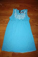 NWT Womens PREMISE Blue Surf Sleeveless Summer Sun Dress Size M Medium