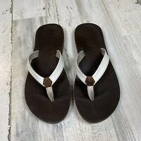 Reef White Leather Yoga Mat Women's Size 8.5 Flip Flops