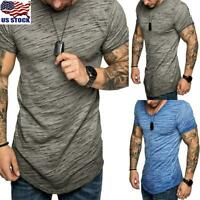 Men's Short Sleeve T-shirt Summer Gym Slim Fit Muscle Tops Tee Casual Blouse