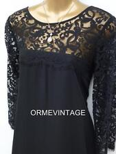 💞 New Monsoon Abigail Black Dress sz 12  lace sleeves Wedding/Party/Cocktail