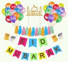 Colorful Eid Mubarak Decor -Banner Balloons Cake Topper FREE SHIPPING FROM US