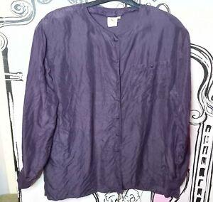 Size 16-18 Vintage Von Paul Schrader 100% SILK Dark Purple Blouse Shirt