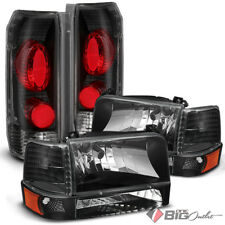 For 92-96 F150/F250/F350 Bronco Black Housing Headlights + Tail Lights Combo