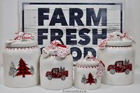 10 Strawberry Street Christmas Canister Set (4) Red Farm Truck Tree Plaid NEW'19