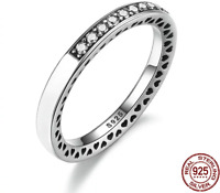 Solid New 925 Sterling Silver Luxury Radiant Heart of Ring crystal Stone Ring UK
