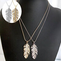 Fashion Women Charm Crystal Feather Leaf Pendant Bohemian Chain Necklace